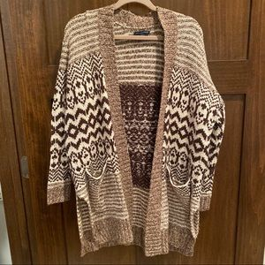 Brown Patterned Cardigan